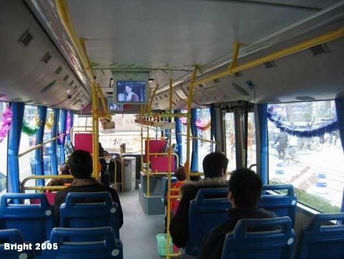 成都1路27路公交车车内移动电视