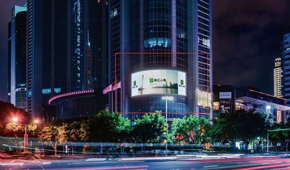 广州市天河区体育西路与天河北路交汇处朝东北弧形LED屏广告