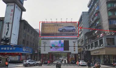黄石市广场路交通路交汇处钟楼步行街门楼三面翻广告