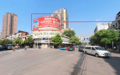 黄石市天津路十字路口工商银行楼顶三面翻广告