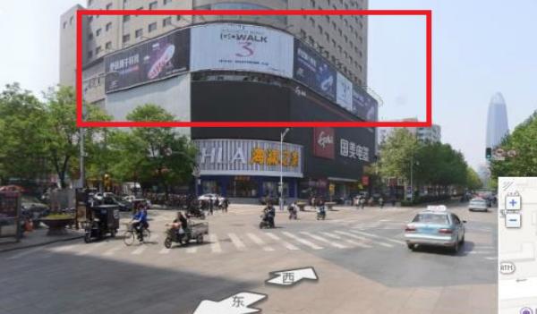 济南市商业区泉城路国美楼顶大牌广告