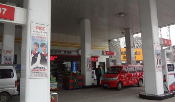 日照市中石化加油站加油机立柱看板广告