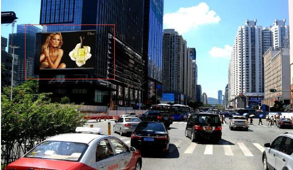 深圳市福田温德姆至尊酒店南面墙体大牌广告