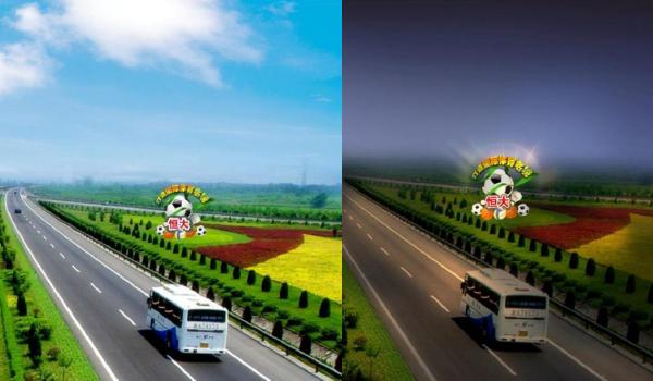 广州机场高速公路绿化带大灯箱广告