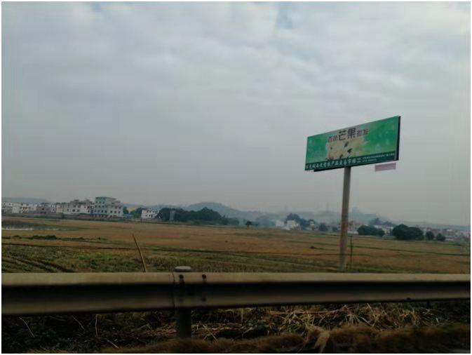 南百高速距离百色收费站10公里处单立柱广告